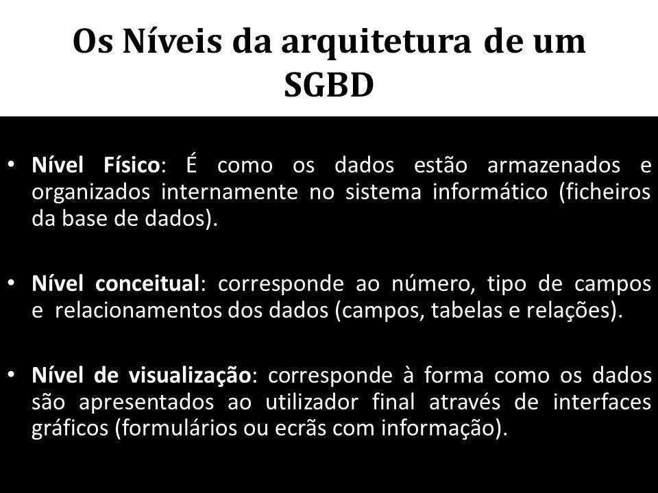 Os Níveis da arquitetura de um SGBD