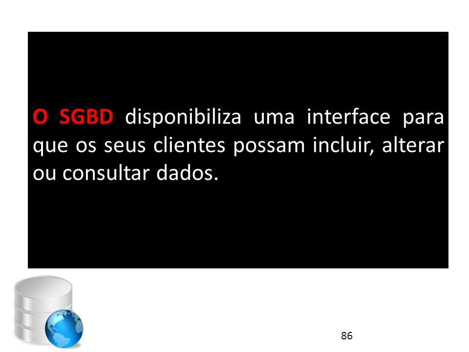 O SGBD disponibiliza uma interface para que os seus clientes possam incluir, alterar ou consultar dados.