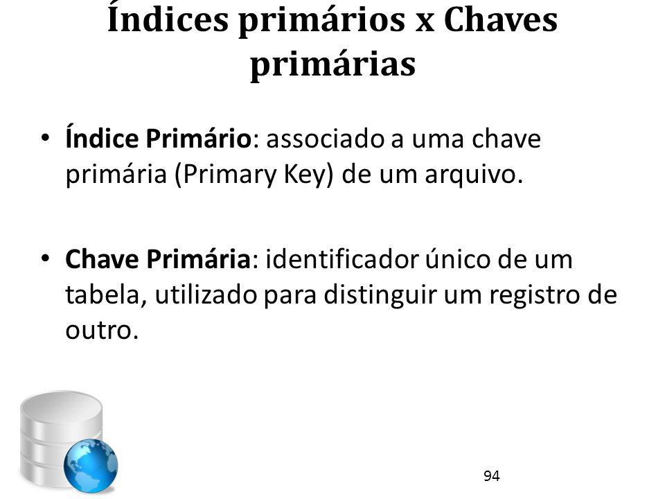 Índices primários x Chaves primárias