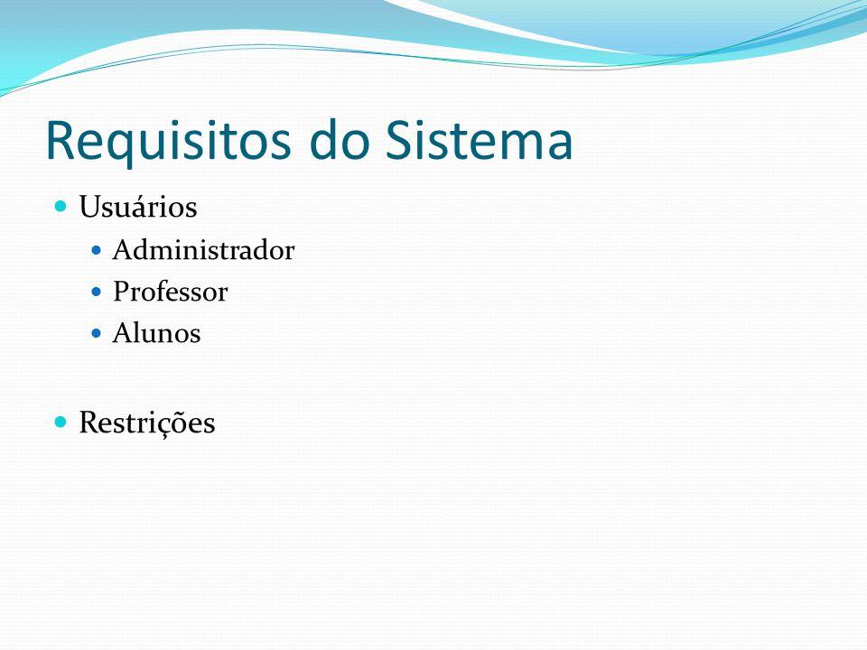 Requisitos do Sistema Usuários Restrições Administrador Professor