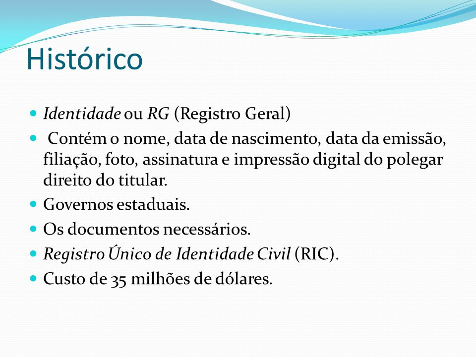 Histórico Identidade ou RG (Registro Geral)
