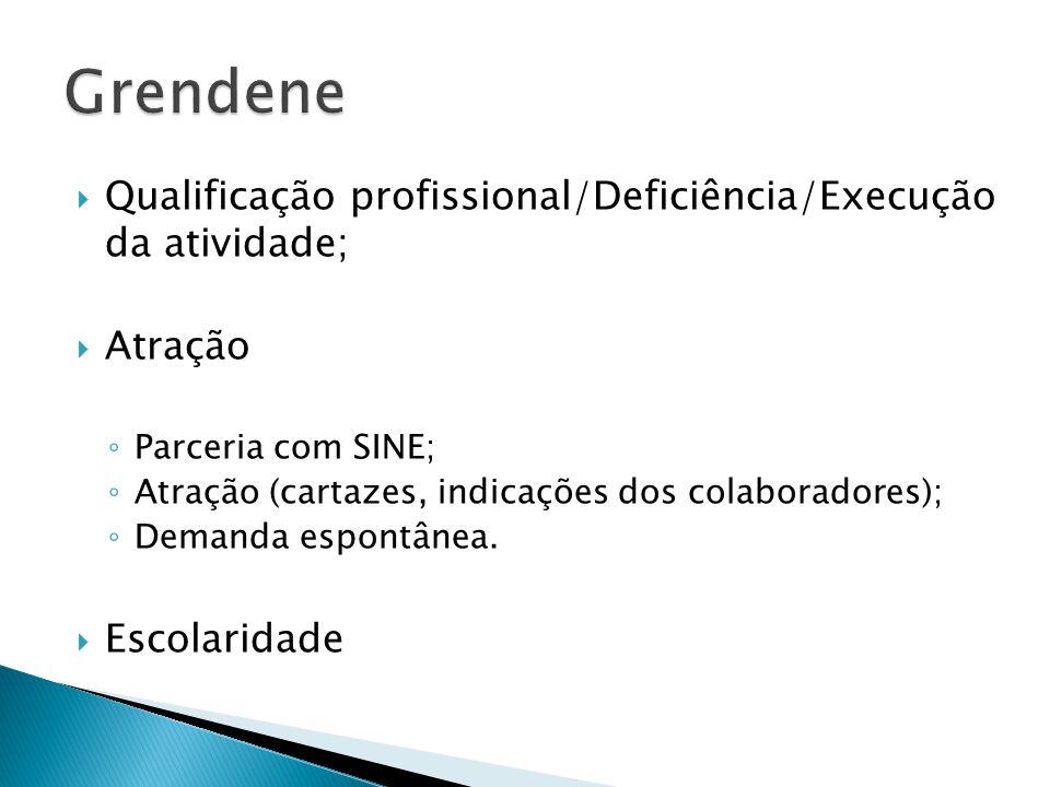 Grendene Qualificação profissional/Deficiência/Execução da atividade;