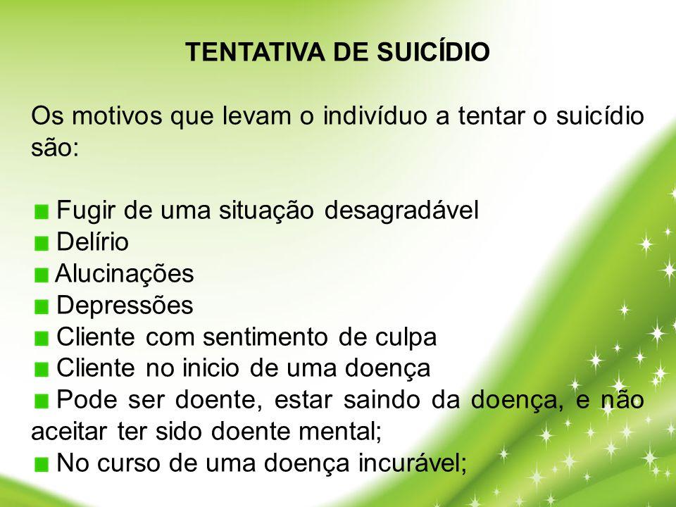 TENTATIVA DE SUICÍDIO Os motivos que levam o indivíduo a tentar o suicídio são: Fugir de uma situação desagradável.