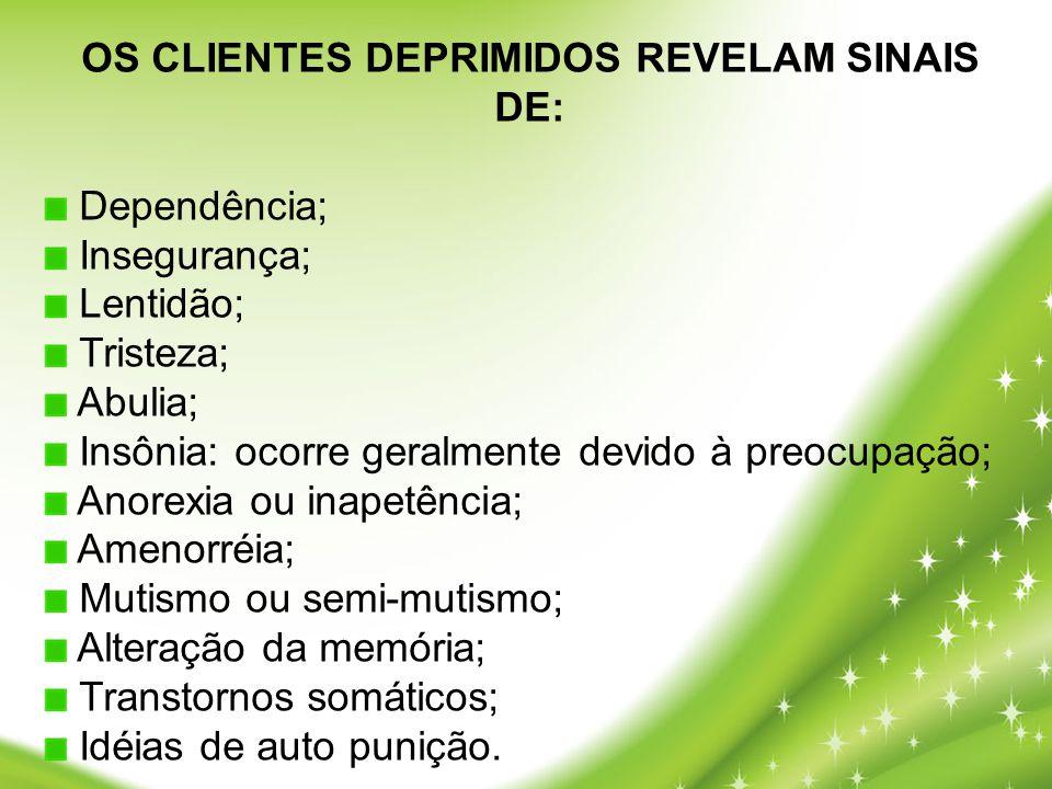OS CLIENTES DEPRIMIDOS REVELAM SINAIS DE:
