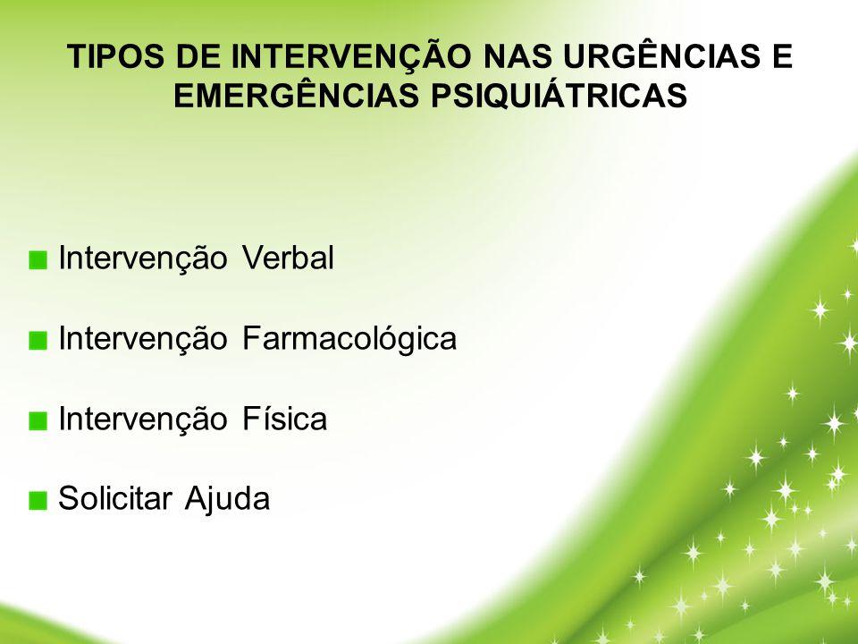 TIPOS DE INTERVENÇÃO NAS URGÊNCIAS E EMERGÊNCIAS PSIQUIÁTRICAS