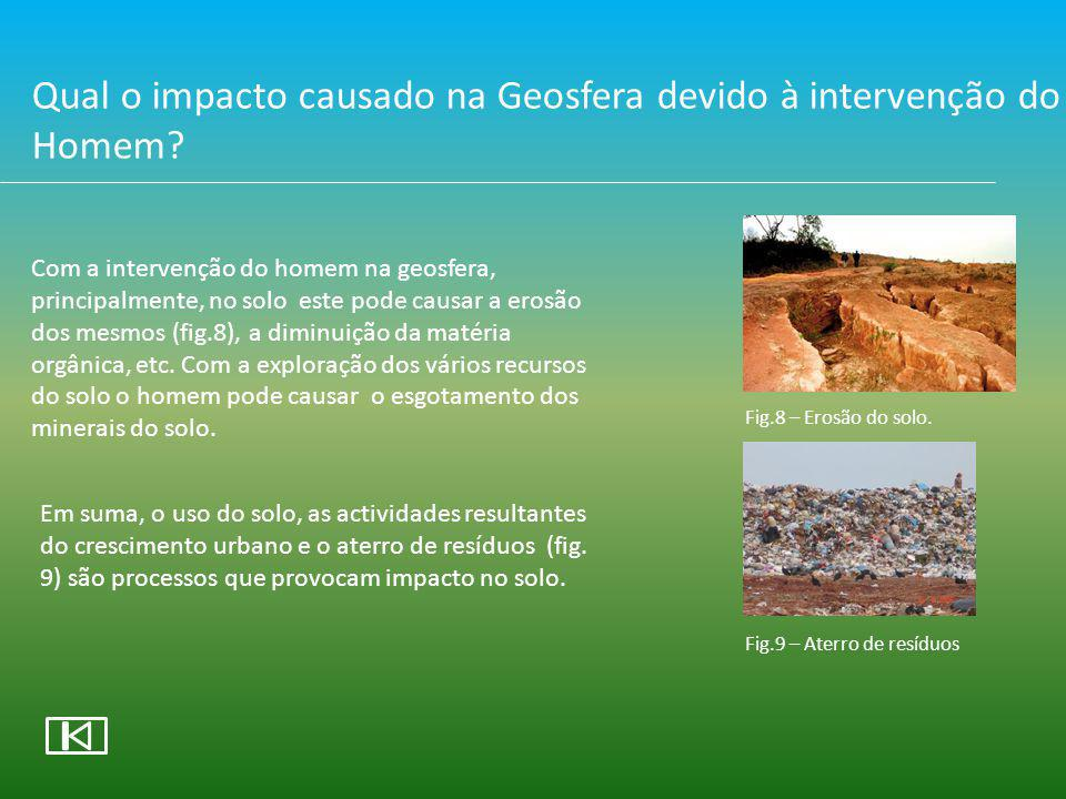 Qual o impacto causado na Geosfera devido à intervenção do Homem