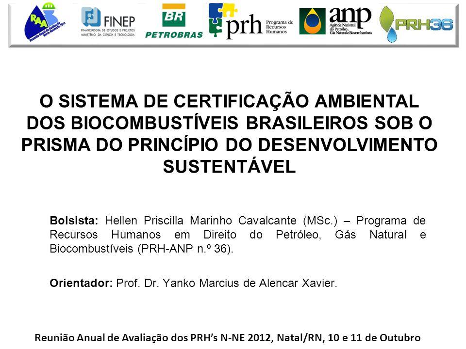 O SISTEMA DE CERTIFICAÇÃO AMBIENTAL DOS BIOCOMBUSTÍVEIS BRASILEIROS SOB O PRISMA DO PRINCÍPIO DO DESENVOLVIMENTO SUSTENTÁVEL