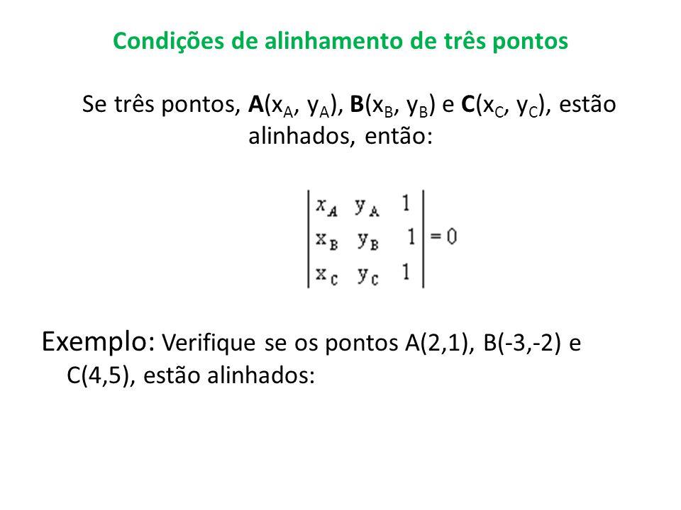 Condições de alinhamento de três pontos Se três pontos, A(xA, yA), B(xB, yB) e C(xC, yC), estão alinhados, então:
