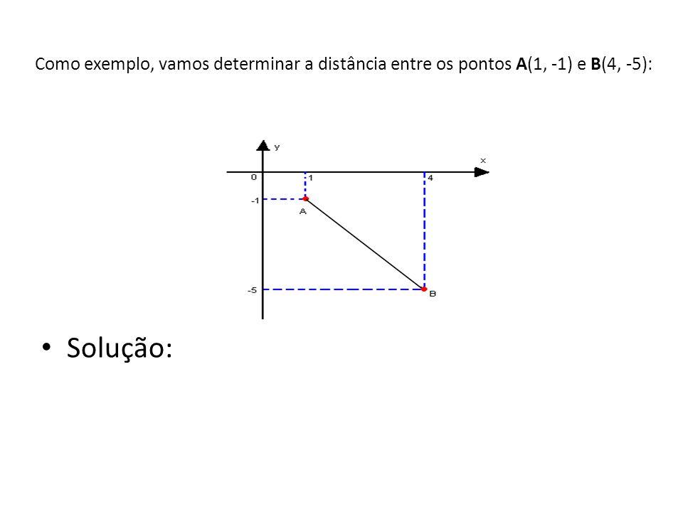 Como exemplo, vamos determinar a distância entre os pontos A(1, -1) e B(4, -5):
