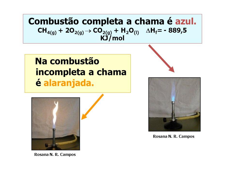Na combustão incompleta a chama é alaranjada.