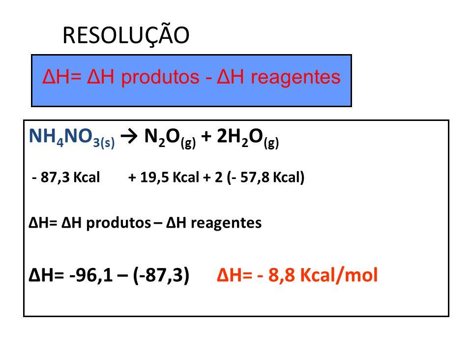 ΔH= ΔH produtos - ΔH reagentes