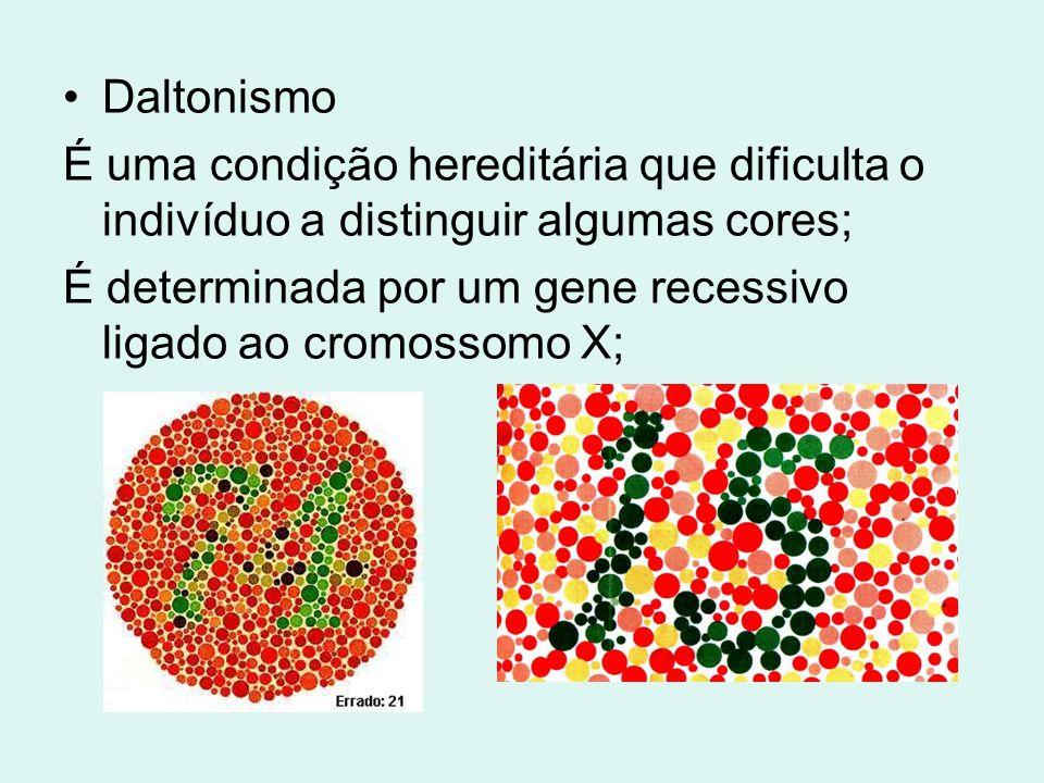 Daltonismo É uma condição hereditária que dificulta o indivíduo a distinguir algumas cores;