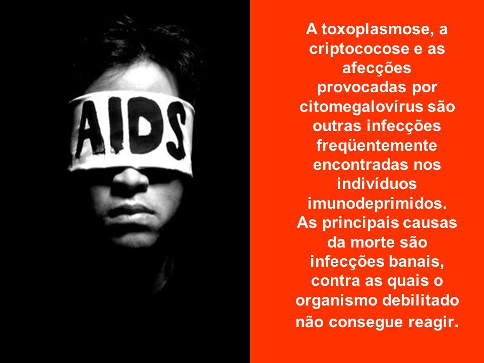 A toxoplasmose, a criptococose e as afecções provocadas por citomegalovírus são outras infecções freqüentemente encontradas nos indivíduos imunodeprimidos.