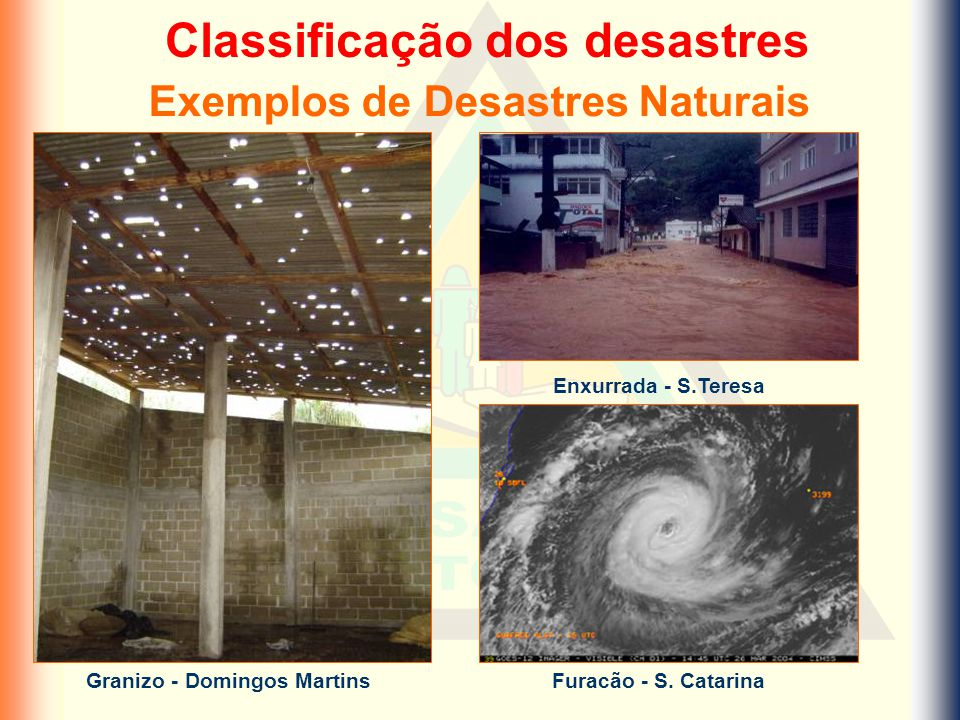 Classificação dos desastres