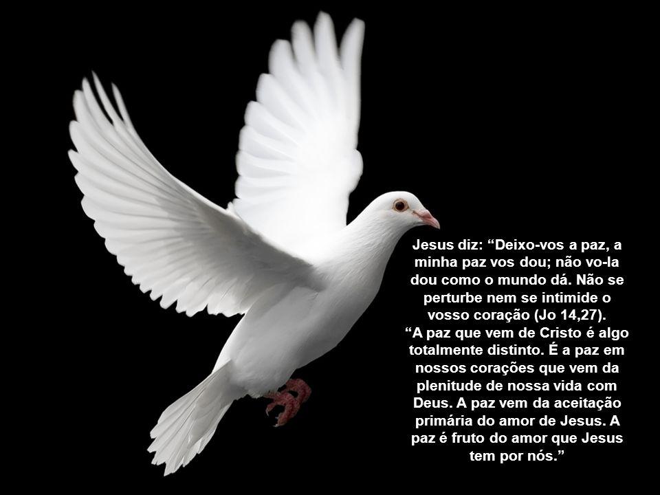 Jesus diz: Deixo-vos a paz, a minha paz vos dou; não vo-la dou como o mundo dá. Não se perturbe nem se intimide o vosso coração (Jo 14,27).
