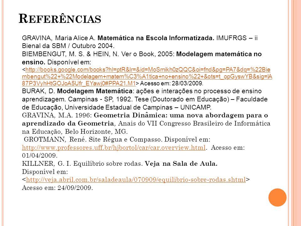 Referências GRAVINA, Maria Alice A. Matemática na Escola Informatizada. IMUFRGS – ii Bienal da SBM / Outubro 2004.