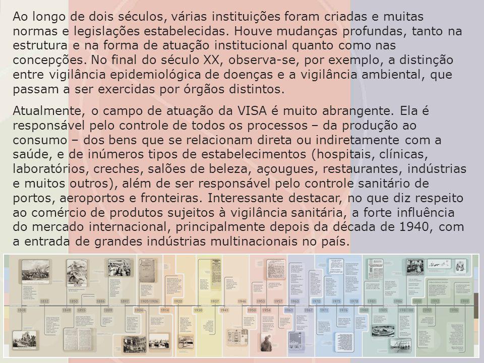 Ao longo de dois séculos, várias instituições foram criadas e muitas normas e legislações estabelecidas. Houve mudanças profundas, tanto na estrutura e na forma de atuação institucional quanto como nas concepções. No final do século XX, observa-se, por exemplo, a distinção entre vigilância epidemiológica de doenças e a vigilância ambiental, que passam a ser exercidas por órgãos distintos.