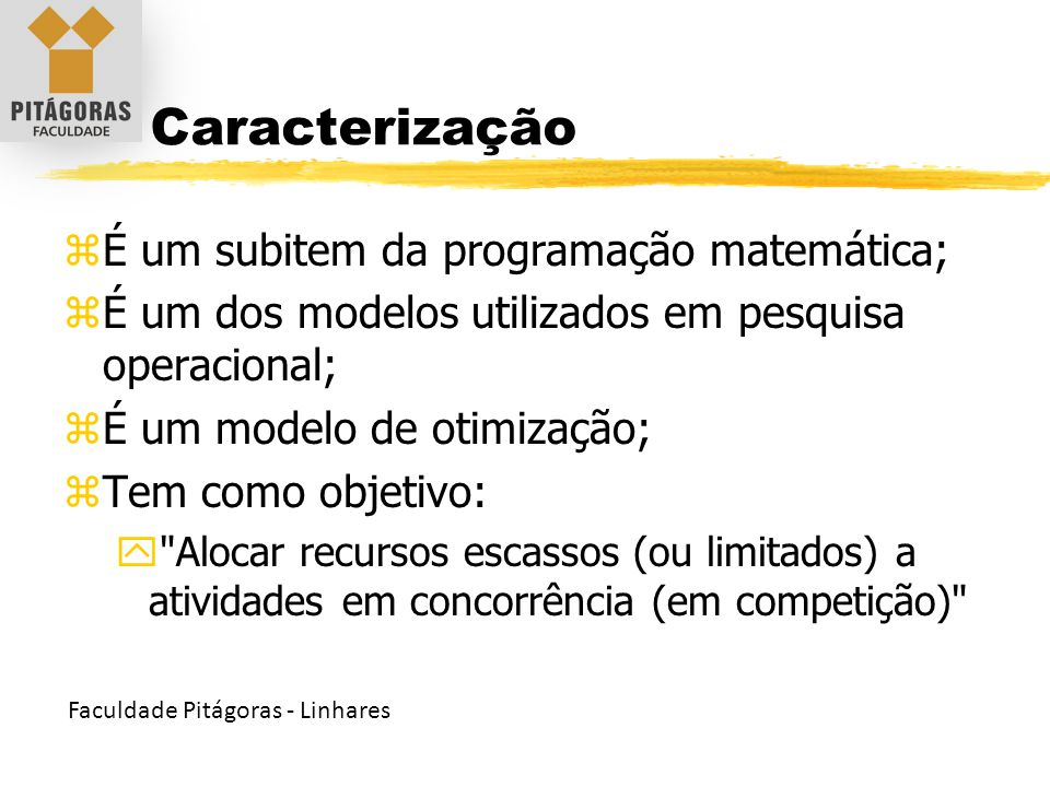 Caracterização É um subitem da programação matemática;