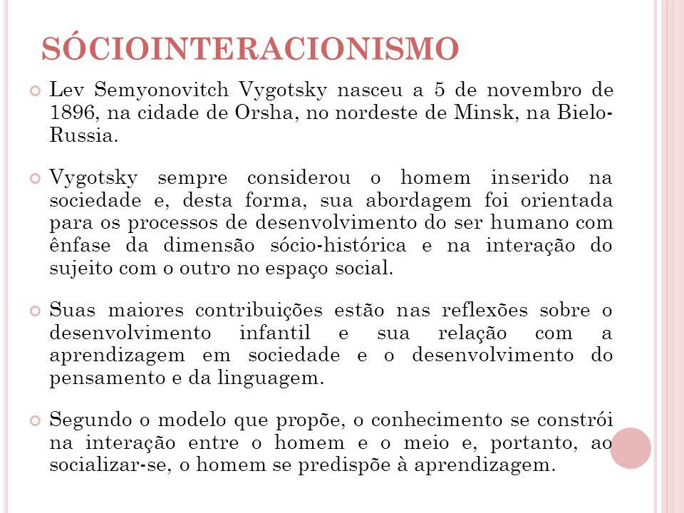 SÓCIOINTERACIONISMO Lev Semyonovitch Vygotsky nasceu a 5 de novembro de 1896, na cidade de Orsha, no nordeste de Minsk, na Bielo- Russia.