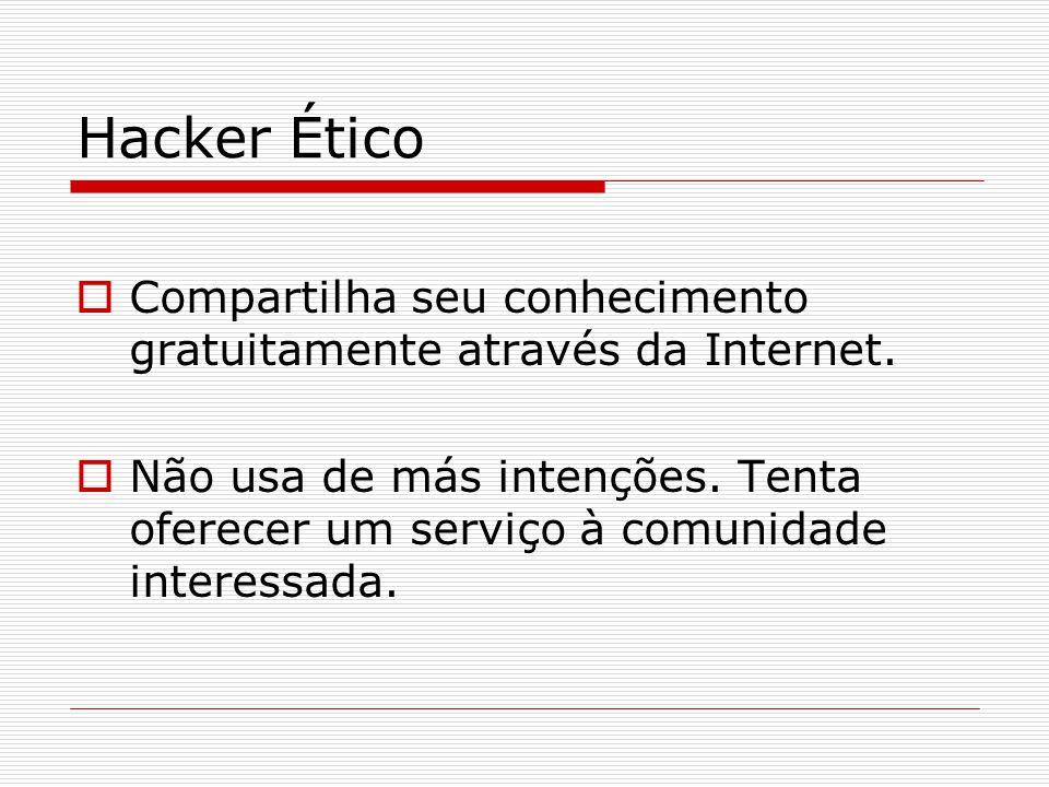 Hacker Ético Compartilha seu conhecimento gratuitamente através da Internet.