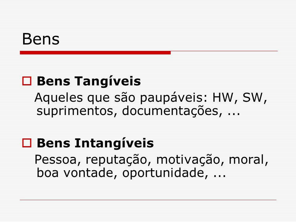 Bens Bens Tangíveis. Aqueles que são paupáveis: HW, SW, suprimentos, documentações, ... Bens Intangíveis.