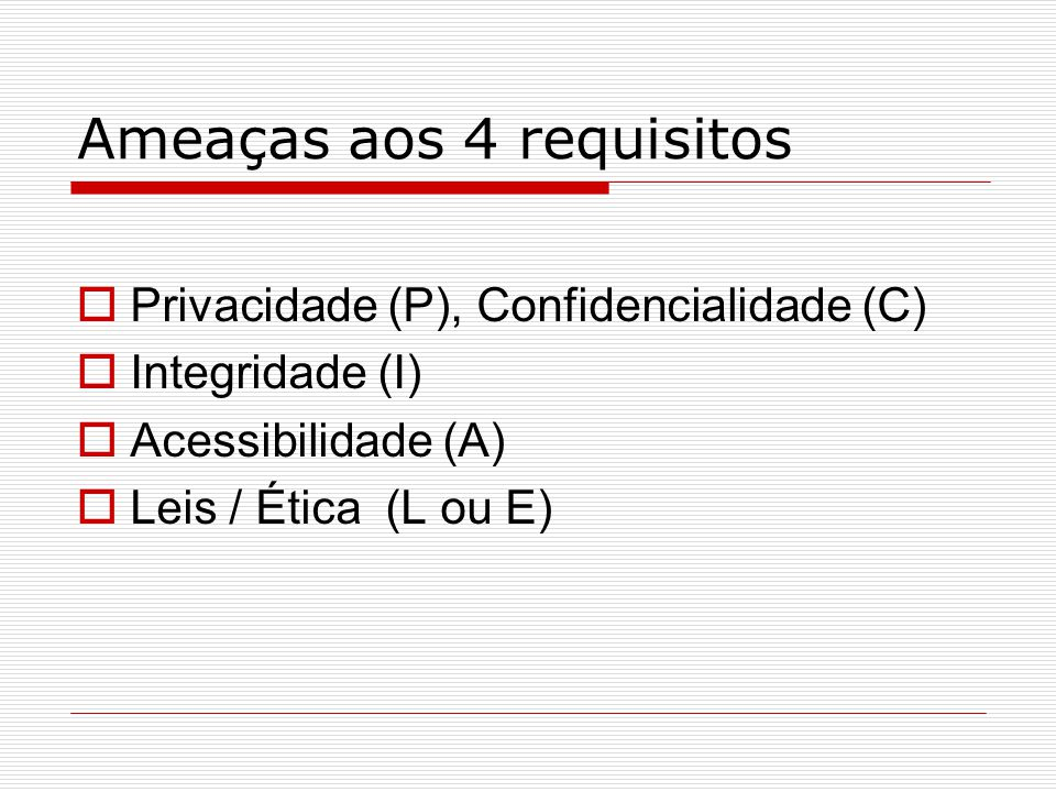 Ameaças aos 4 requisitos