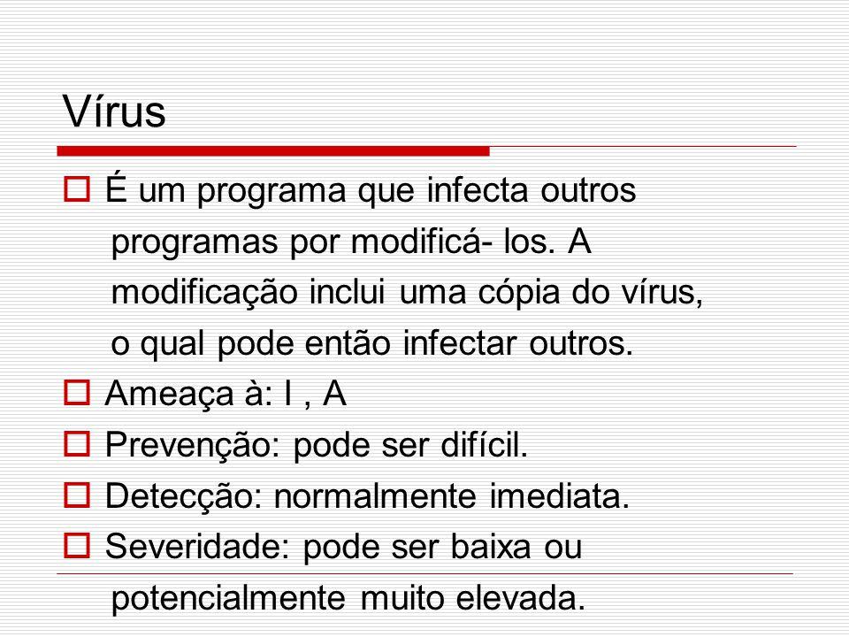 Vírus É um programa que infecta outros programas por modificá- los. A