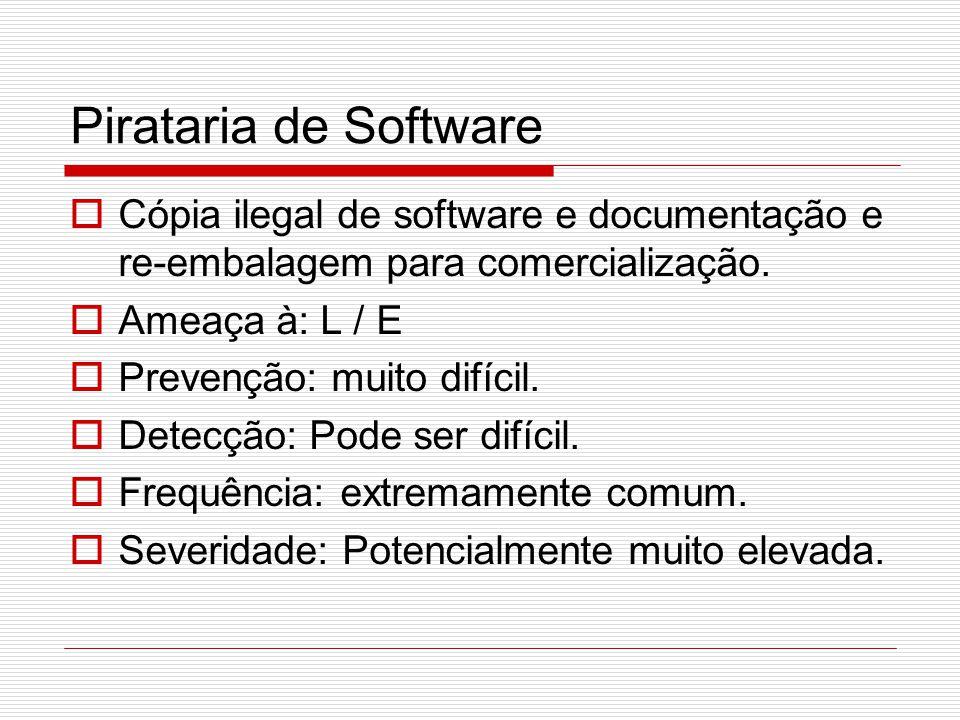 Pirataria de Software Cópia ilegal de software e documentação e re-embalagem para comercialização. Ameaça à: L / E.