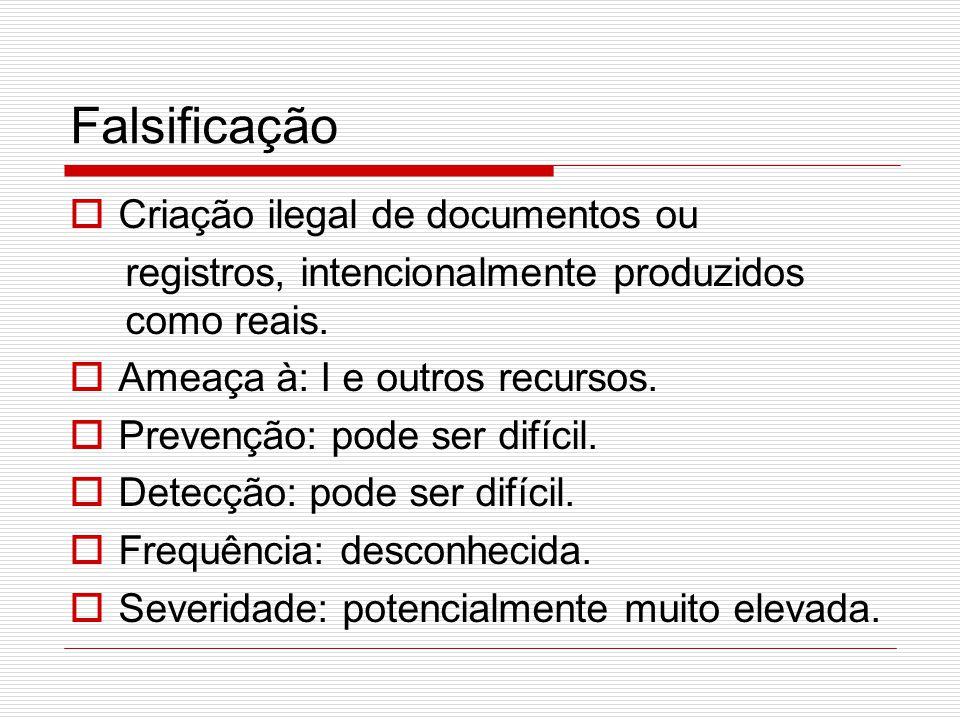 Falsificação Criação ilegal de documentos ou