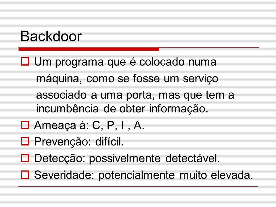 Backdoor Um programa que é colocado numa