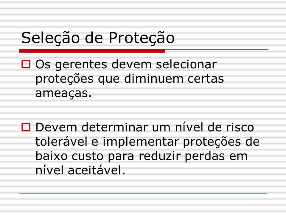 Seleção de Proteção Os gerentes devem selecionar proteções que diminuem certas ameaças.