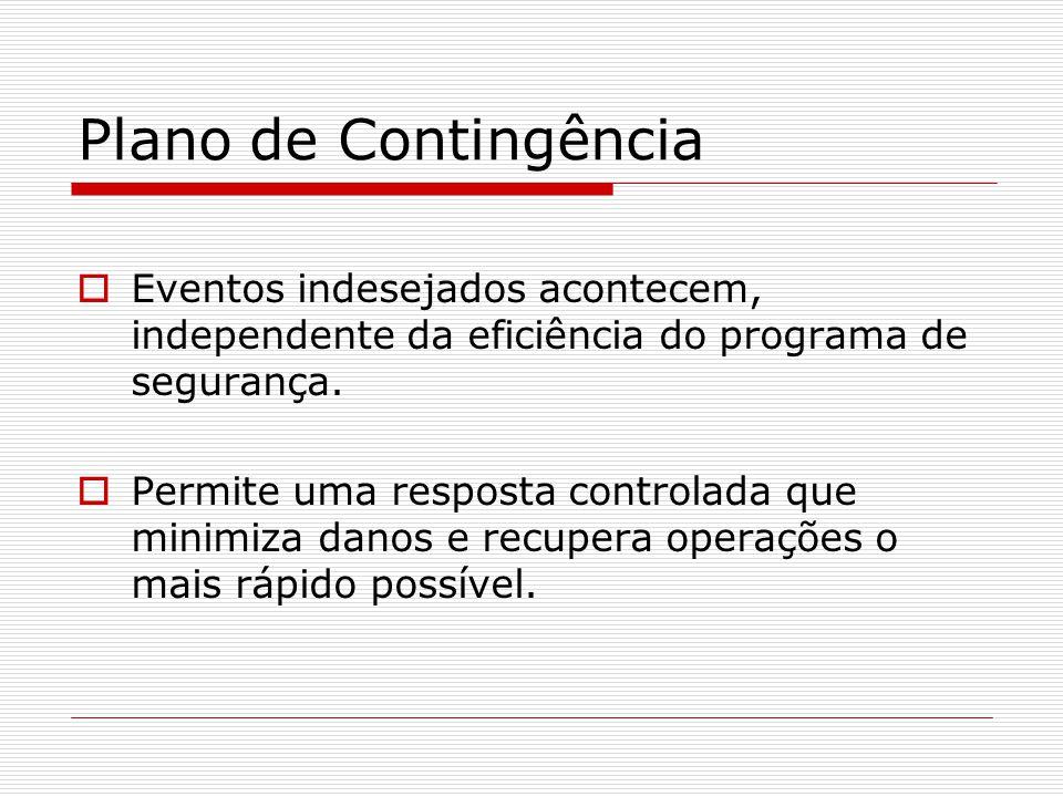 Plano de Contingência Eventos indesejados acontecem, independente da eficiência do programa de segurança.