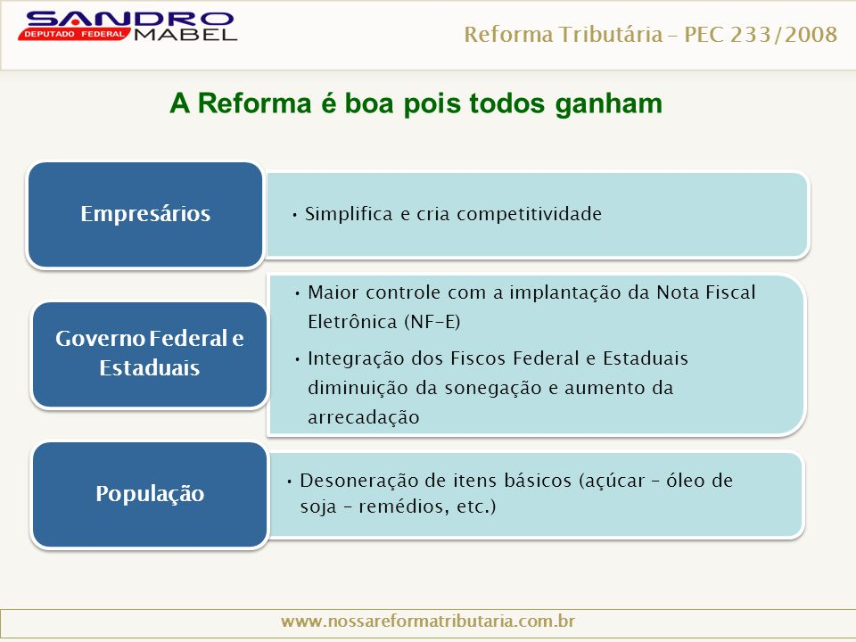 A Reforma é boa pois todos ganham
