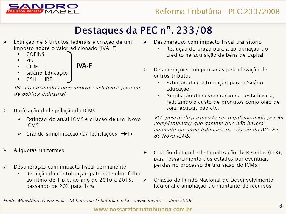 Destaques da PEC nº. 233/08 Reforma Tributária – PEC 233/2008 IVA-F