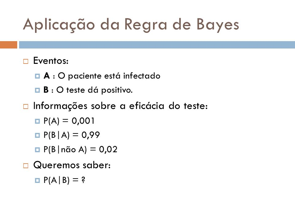 Aplicação da Regra de Bayes