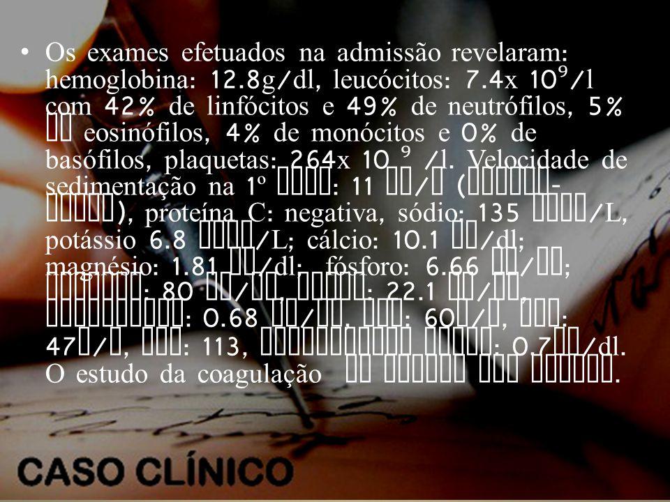 Os exames efetuados na admissão revelaram: hemoglobina: 12