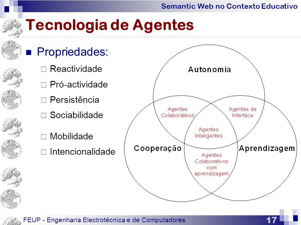 Tecnologia de Agentes Propriedades: Reactividade Pró-actividade