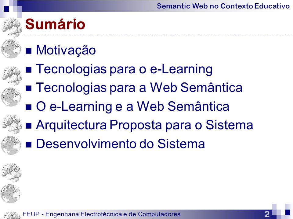 Sumário Motivação Tecnologias para o e-Learning