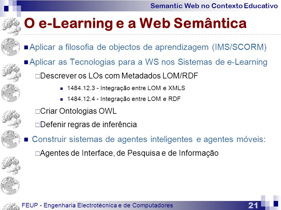 O e-Learning e a Web Semântica