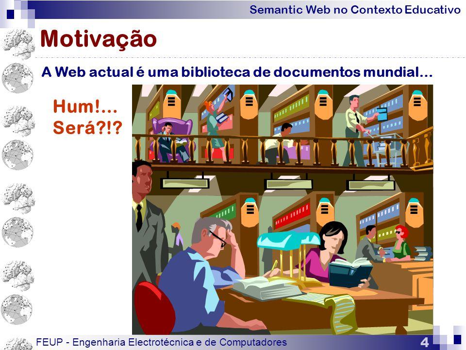 Motivação A Web actual é uma biblioteca de documentos mundial… Hum!... Será !