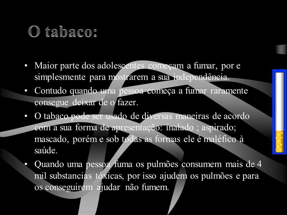 O tabaco: Maior parte dos adolescentes começam a fumar, por e simplesmente para mostrarem a sua independência.