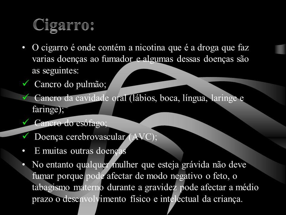 Cigarro: O cigarro é onde contém a nicotina que é a droga que faz varias doenças ao fumador e algumas dessas doenças são as seguintes: