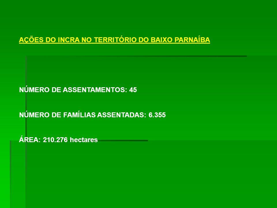 AÇÕES DO INCRA NO TERRITÓRIO DO BAIXO PARNAÍBA