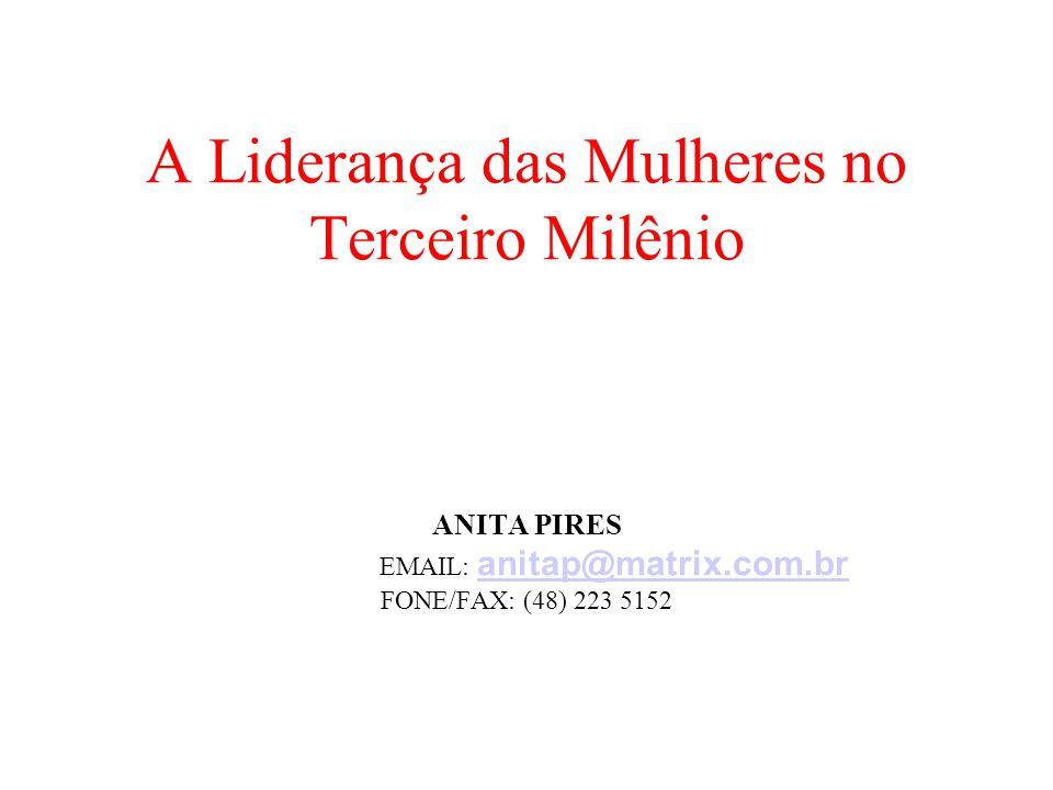 A Liderança das Mulheres no Terceiro Milênio ANITA PIRES EMAIL: anitap@matrix.com.br FONE/FAX: (48) 223 5152