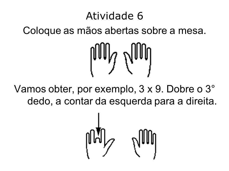 Coloque as mãos abertas sobre a mesa.