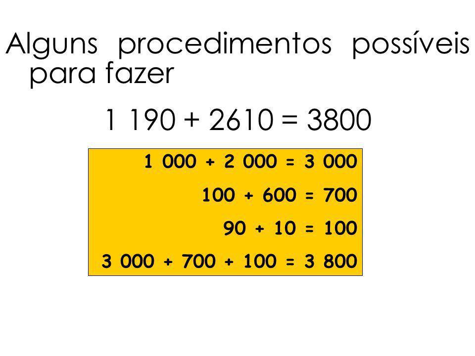Alguns procedimentos possíveis para fazer 1 190 + 2610 = 3800