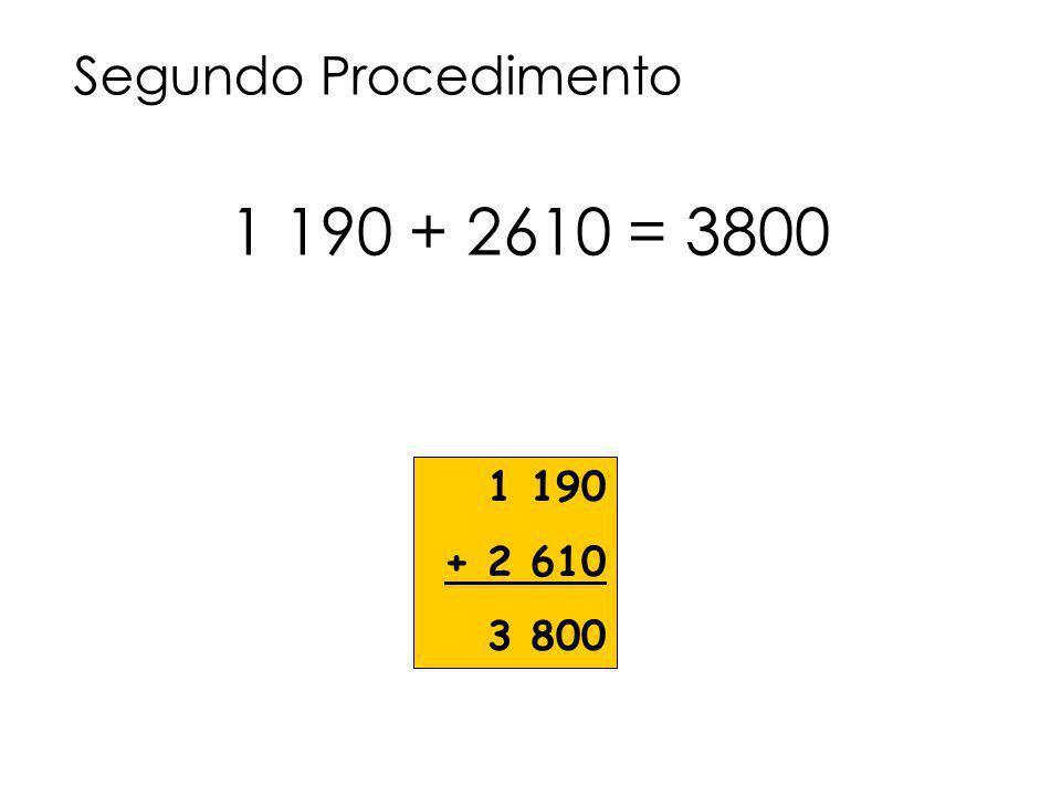 Segundo Procedimento 1 190 + 2610 = 3800 1 190 + 2 610 3 800