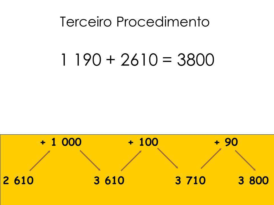 1 190 + 2610 = 3800 Terceiro Procedimento + 1 000 + 100 + 90