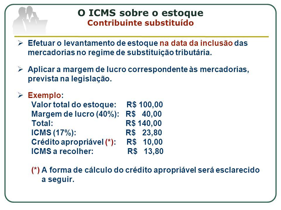 O ICMS sobre o estoque Contribuinte substituído