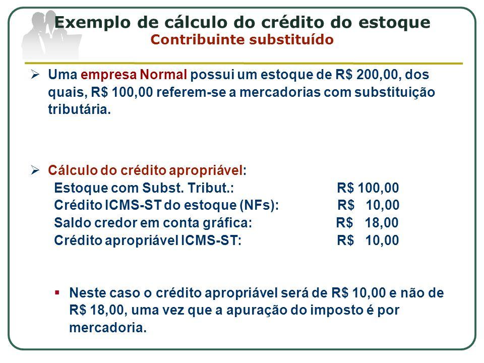 Exemplo de cálculo do crédito do estoque Contribuinte substituído